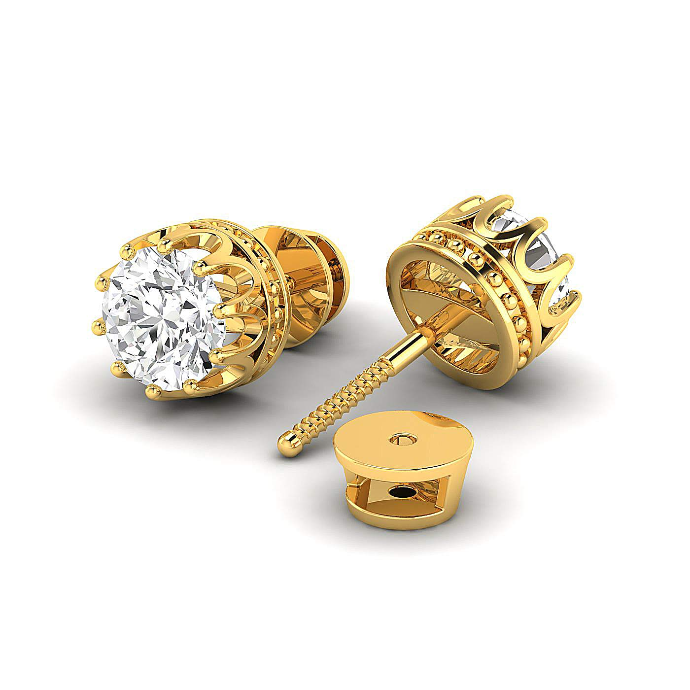 / Pure Gold // 925 Sterling Silver Earring Studs 0.3 to 4 Carat Moissanite Stud Earrings Round Brilliant GH//VVS Stud Earrings for Women perfect Jewelry Gifts for Women Teen Girls