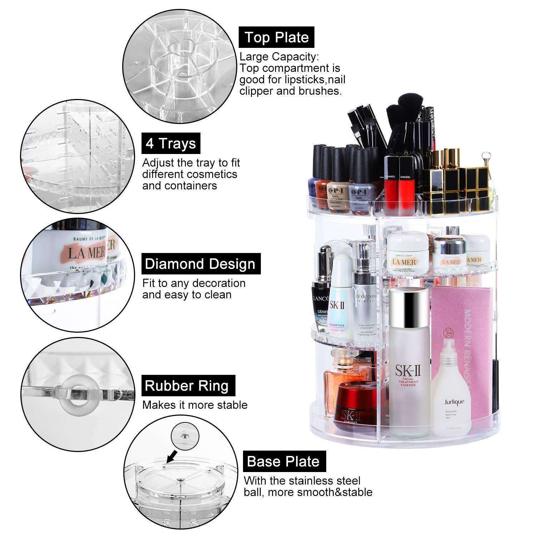 CECOLIC Organizador Maquillaje de 360 Grados, Almacenaje Cosmetica Almacenamiento Cosmético Estuche de Organizador Cajón de la Caja, Se Adapta a Las cremas, Pinceles, Barras de Labios