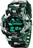 Cloxa Multicolor Dial Army Green Strap Digital Sports Watch for Men's & Boys.