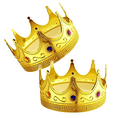 Adorox 2 pcs Gold Royal King Plastic Crown Prince Costume Accessory: Clothing