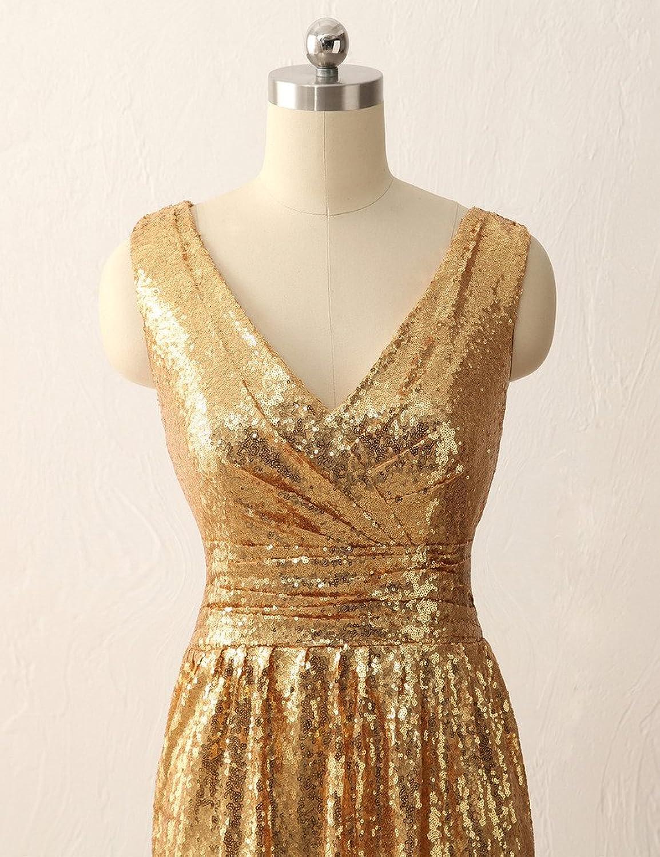 Amazon.com: JAEDEN Simple Gold Bridesmaid Dresses Short Sequin Dress ...
