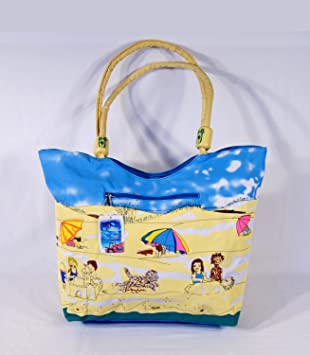 Amazon.com: Water Resistent Kids on Beach Design Canvas Beach Tote ...