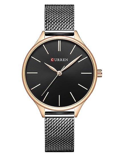 Relojes Mujer Luxus Sport Reloj analógico de Cuarzo Acero Inoxidable Chica Business Fashion Reloj de Pulsera Negro Redondas Reloj Mujer y Tuerca: Amazon.es: ...