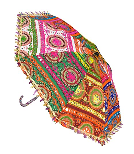 Lal Haveli Handmade Embroidery Work Design Hand Open Umbrella 21 x 26 inches