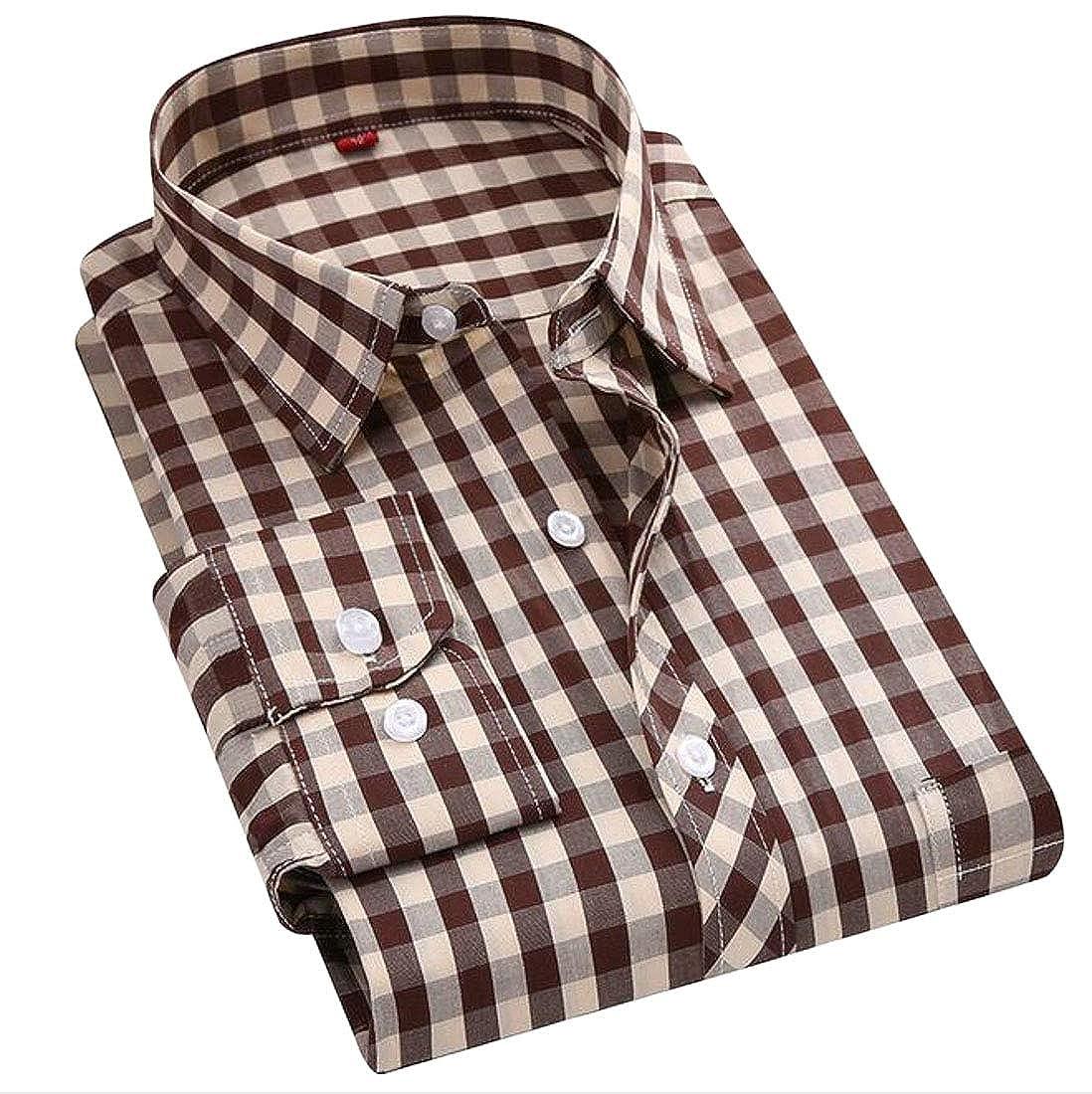 Wofupowga Men Stylish Long Sleeve Button Front Check Buffalo Slim Shirts