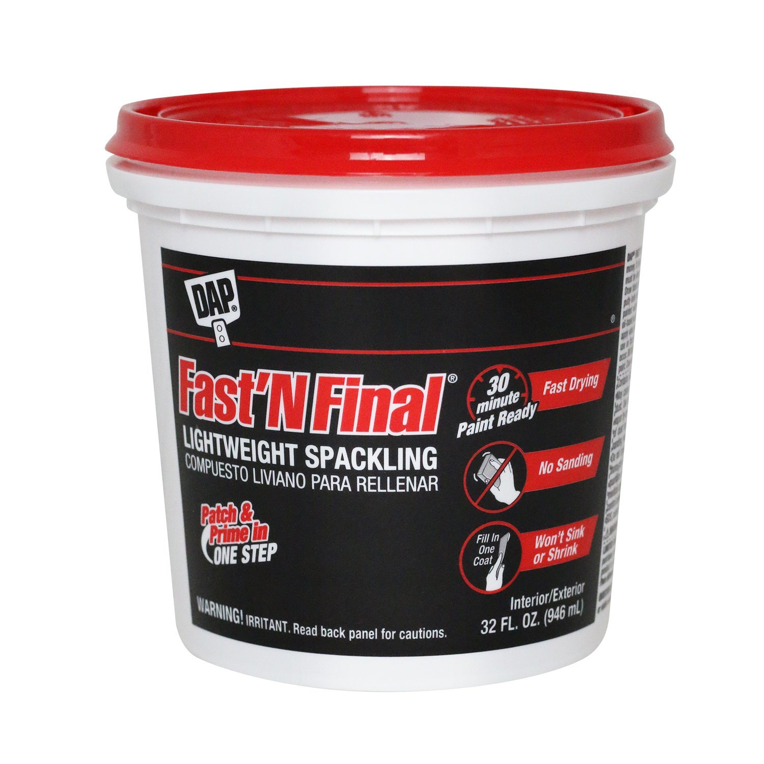 Dap 12140 Fast N Final Interior Exterior Spackle, 12 Pint