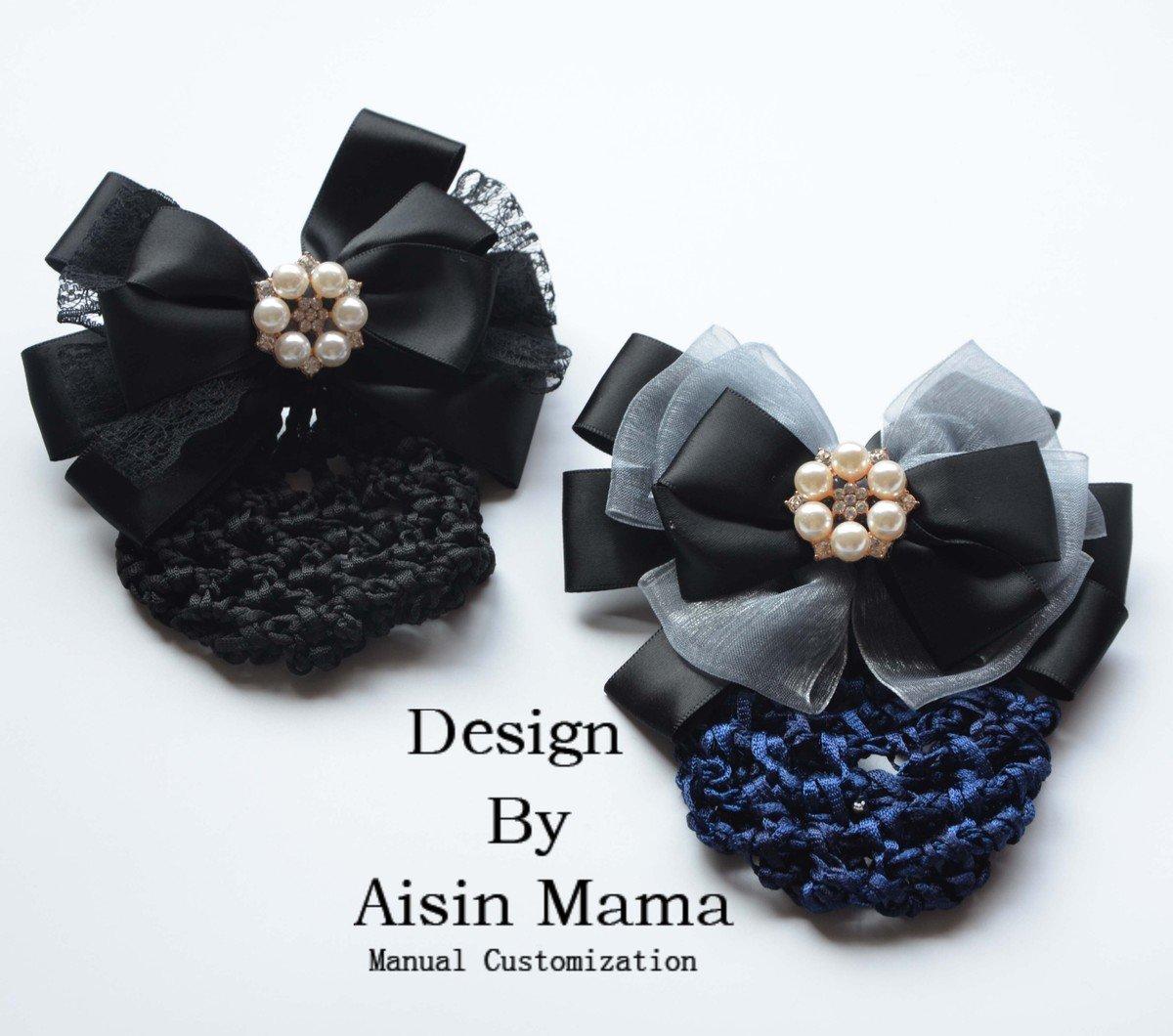 usongs 175 handmade custom pearl vocational nurse head flower hair ornaments disk string bag stewardess hotel hairnet bow hair accessories women girls