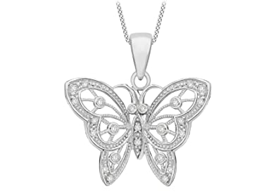 Tuscany Silver Sterling Silver Cut Out Butterfly Pendant on Chain Necklace of 46cm/18 AfI5nx6Pdt
