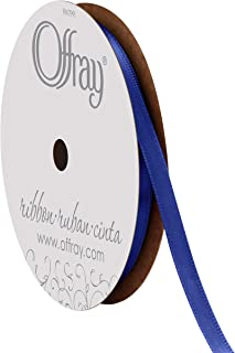 "product image for Offray 1/4"" Wide Double Face Satin Ribbon, 20 Yards, Royal Blue"