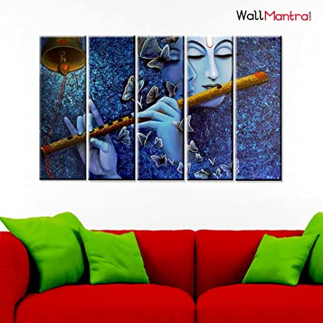 Wallmantra Radha Krishna Spiritual Romantic Wall Painting 5 Pieces Canvas Print Wall Hanging Stretched And Framed On Wood 44 W X 24 H Home Decor