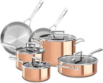 10-Piece KitchenAid Tri-Ply Copper Cookware Set with Lids