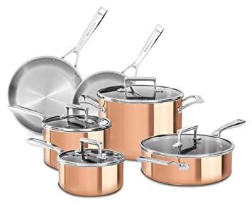 KitchenAid Copper CLAD Tri-Ply 10-Piece Cookware Set KC2PS10CP by ...