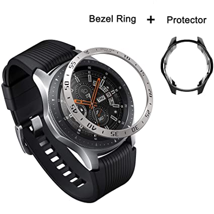Bezel Cover Compatible with Galaxy Watch 46mm/Gear S3 Frontier & Classic Smartwatch,Five Star Online Bezel Loop Stainless Steel Adhesive Cover with ...