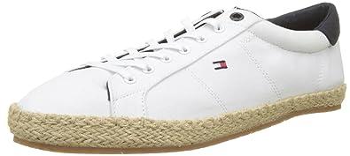 Tommy Hilfiger Textile Lace Up Espadrille, Sneakers Basses Homme, Blanc (White 100), 44 EU