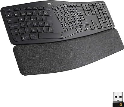 Logitech ERGO K860, teclado ergonómico inalámbrico con distribución de teclado partido, reposamanos, tejido resistente a las salpicaduras, ...
