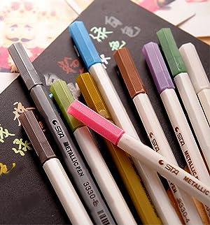 MXXGMYJ Waterproof Metallic Marker Pens Metallic Colored Pencils Highlighters Paint Marker for DIY Arts Crafts Album Photo 10Pack