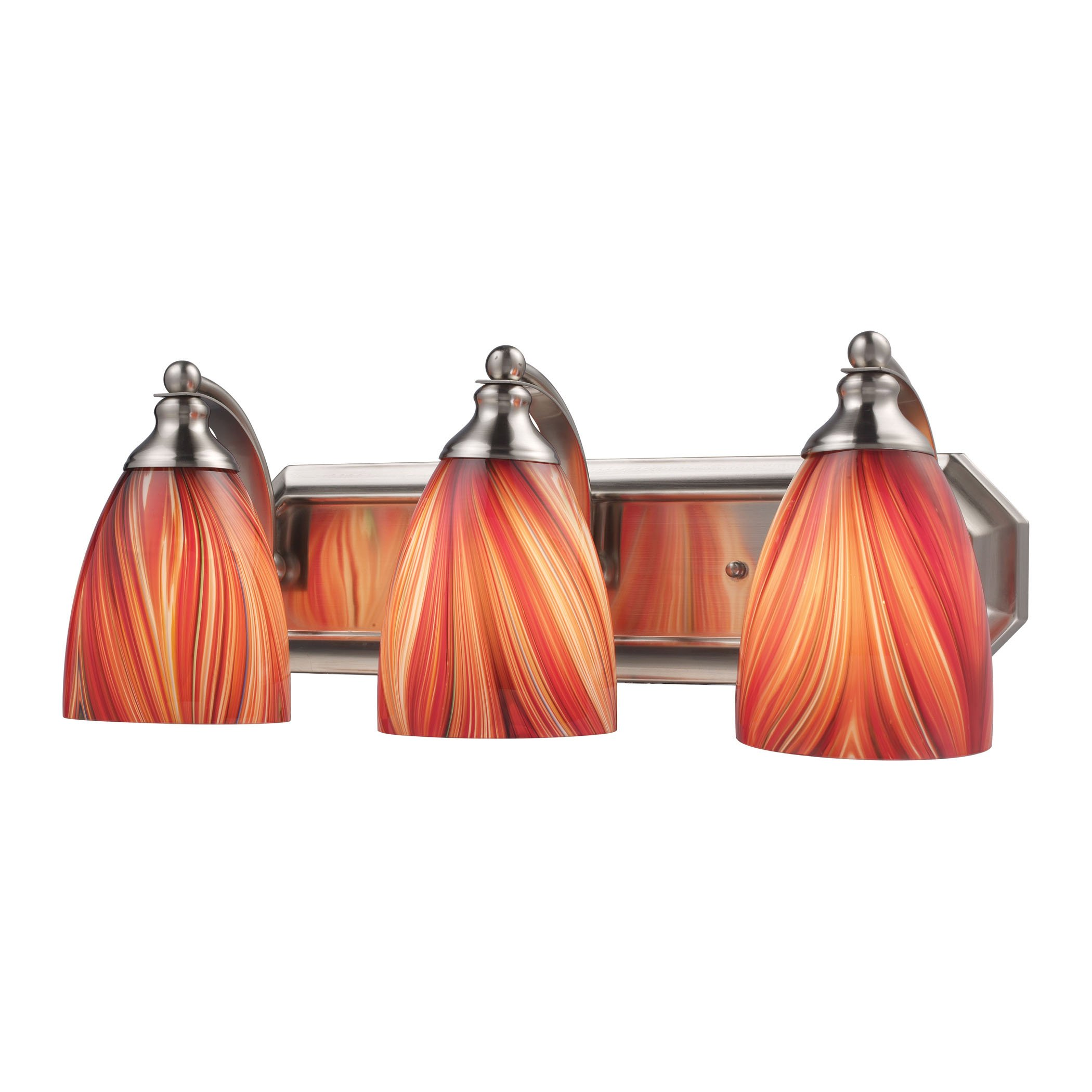 Alumbrada Collection Bath And Spa 3 Light Vanity In Satin Nickel And Multi Glass