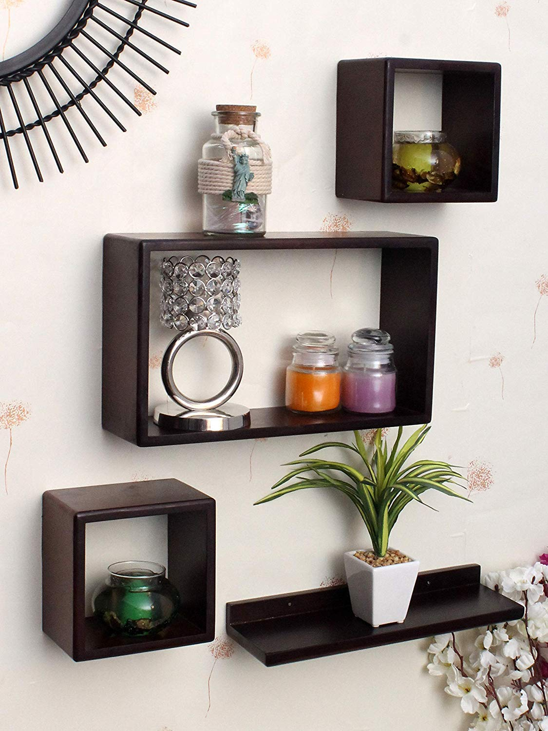 Sun Wood Art Mdf Cube And Rectangle Wall Shelf For Living Room And Bedroom And Home Decor Floating Shelves Brown Standard Size Set Of 4 Amazon In Home Kitchen