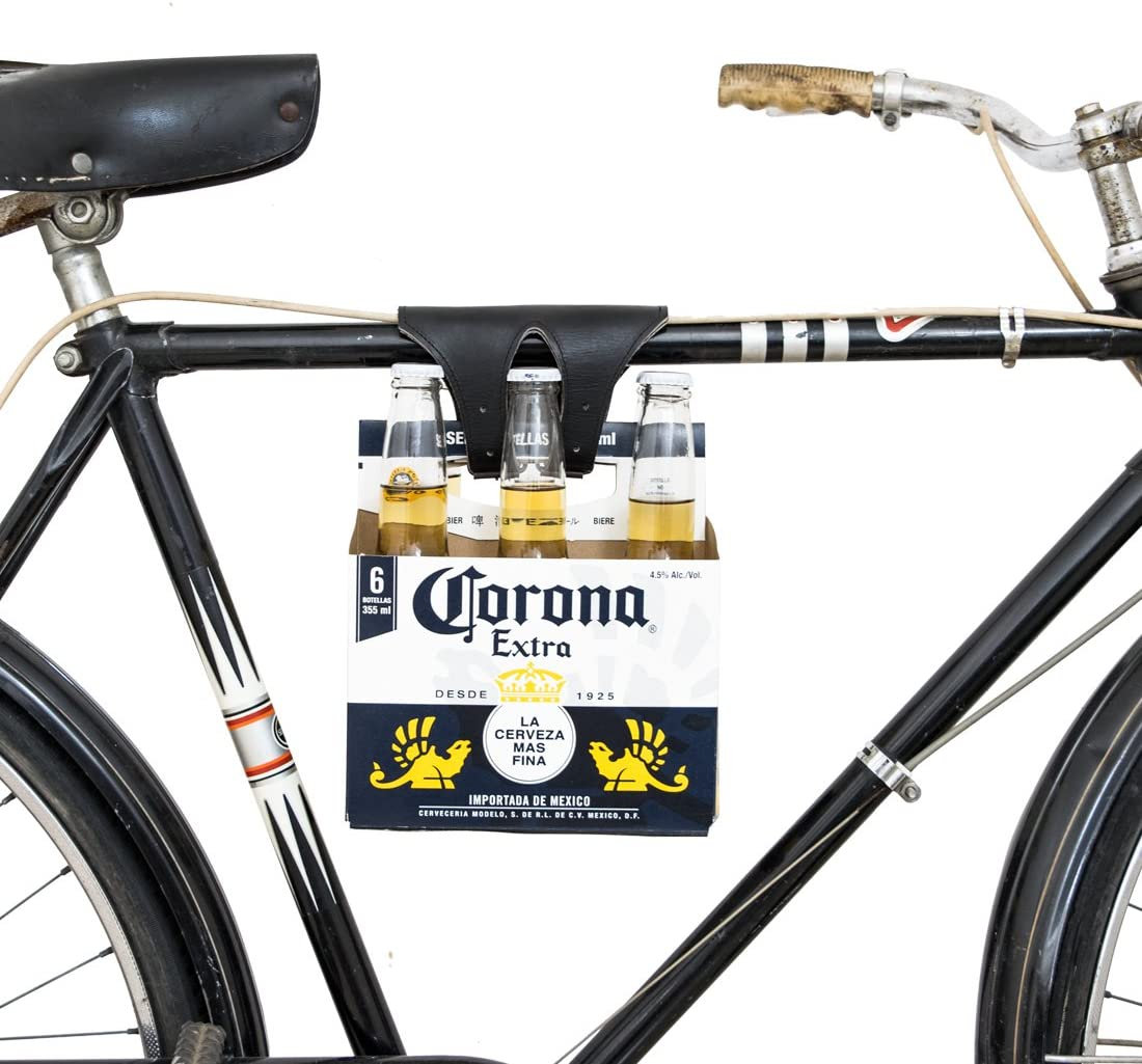 Hide Drink Six-Pack Bike Cinch Bicycle Beer Carrier Handmade Black