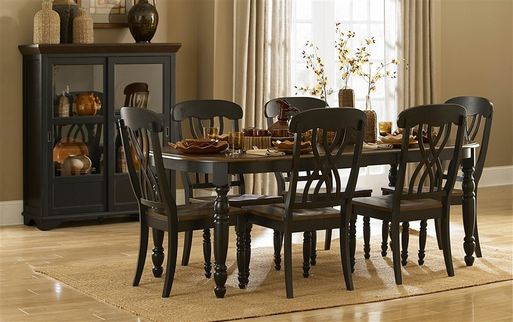 Amazon Homelegance Ohana 48 Piece Dining Table Set In Black Enchanting Black And Brown Dining Room Sets