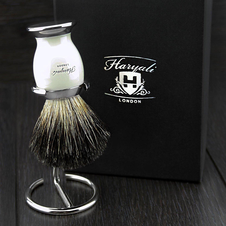 Puro Negro Pelo de tejón brocha de afeitar con hadas Pierna & Metal Base para hombre & Acero inoxidable Cepillo/Holder cromo acabado. Haryali London