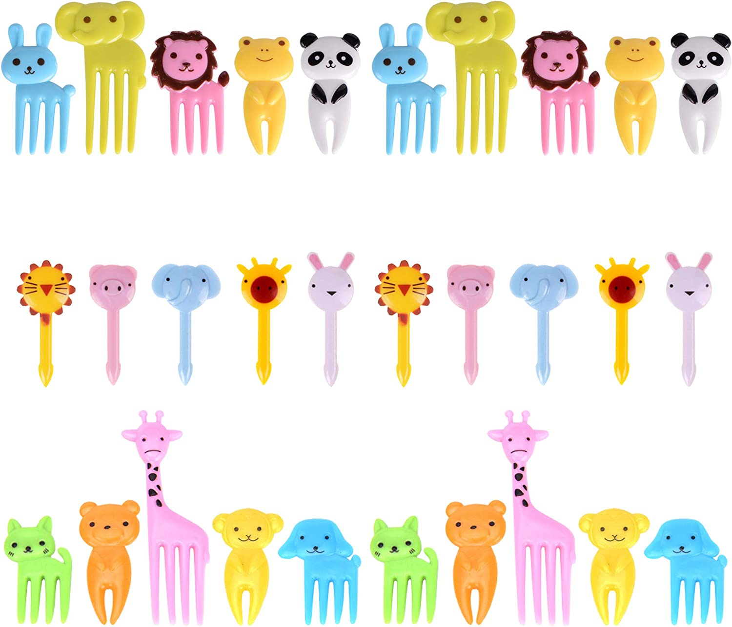 GO Fresh Food Picks for Kids, 30 Pieces Animal Bento Deco Set, Mini Bento Decorations Set for Baby Showers and Kids Parties, Mini Cartoon Toothpick, Bento Lunch Deco