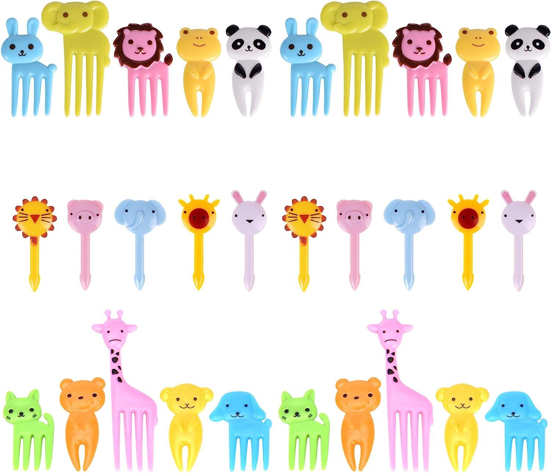 GO Fresh Food Picks for Kids, 30 Pieces Animal Bento Deco Set, Mini Bento Decorations Set for Baby Showers and Kids Parties, Mini Cartoon Toothpick, Bento Lunch Deco