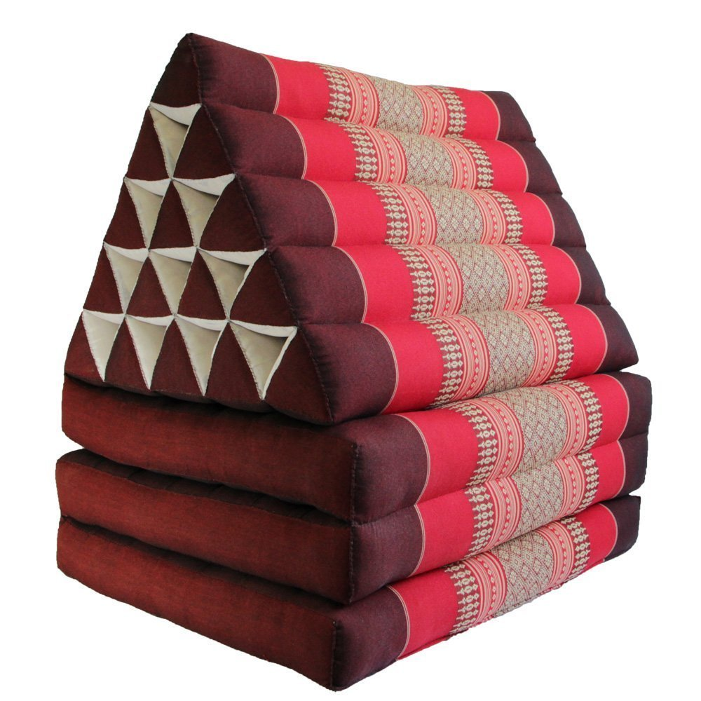 Jumbo Size Thai Handmade Foldout Triangle Thai Cushion, 73x18x3 inches, Brown Red, Kapok Fabric, Premium Double Stitched, Products From Thailand