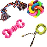 Jainsons Pet Products Dog & Puppy Rubber Chew Toys Combo, Multi Color Ball, Rubber Chew Toy, Squeaky Canvas Fish, Cotton Bone Toys