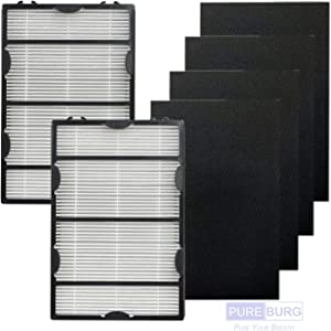 PUREBURG Replacement 2 HEPA Filter and 4 Carbon Filters for Holmes HAPF600 HAPF60 Filter B HAPF600D-U2 HAP8650B HAP8650B-NU Biaonaire GE 106633