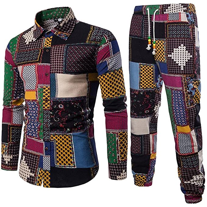 Fashion Mens  Shirt Male Stand-Up Collar Pullover Flax Casual Long Sleeve Shirts