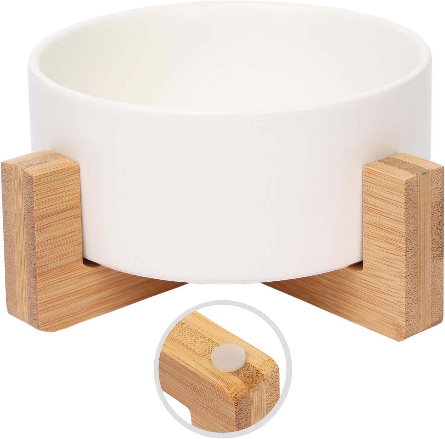 Olsa Ceramic Cat Dog Bowl with Anti-Slip Bamboo Stand, Round Dog Food Bowl, Elevated Cat Dog Bowls, Large Capacity Pet Bowl, Dog Food and Water Bowl for Dogs Cats, Easy to Clean, Holds 30 Ounces
