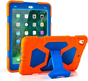 iPad 9.7 2018/2017, iPad Air 2, iPad Pro 9.7 Case for Kids Full Body Protective Shockproof Cover with Adjustable Kickstand for iPad 9.7 5th / 6th Generation (Orange/Blue)