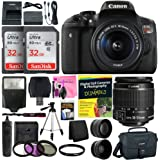 Canon EOS Rebel T6i (750D) SLR Camera with 18-55mm EF-S f/3.5-5.6 is II Lens + 58mm Wide Angle & 2X Telephoto Lenses + Flash + 64GB Memory + UV Filter Kit + Tripod + Full Camera Works Accessory Kit