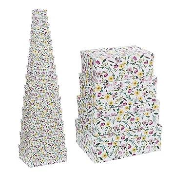 Cajas Forradas Blancas de cartón con Flores provenzales para decoración France - LOLAhome: Amazon.es: Hogar