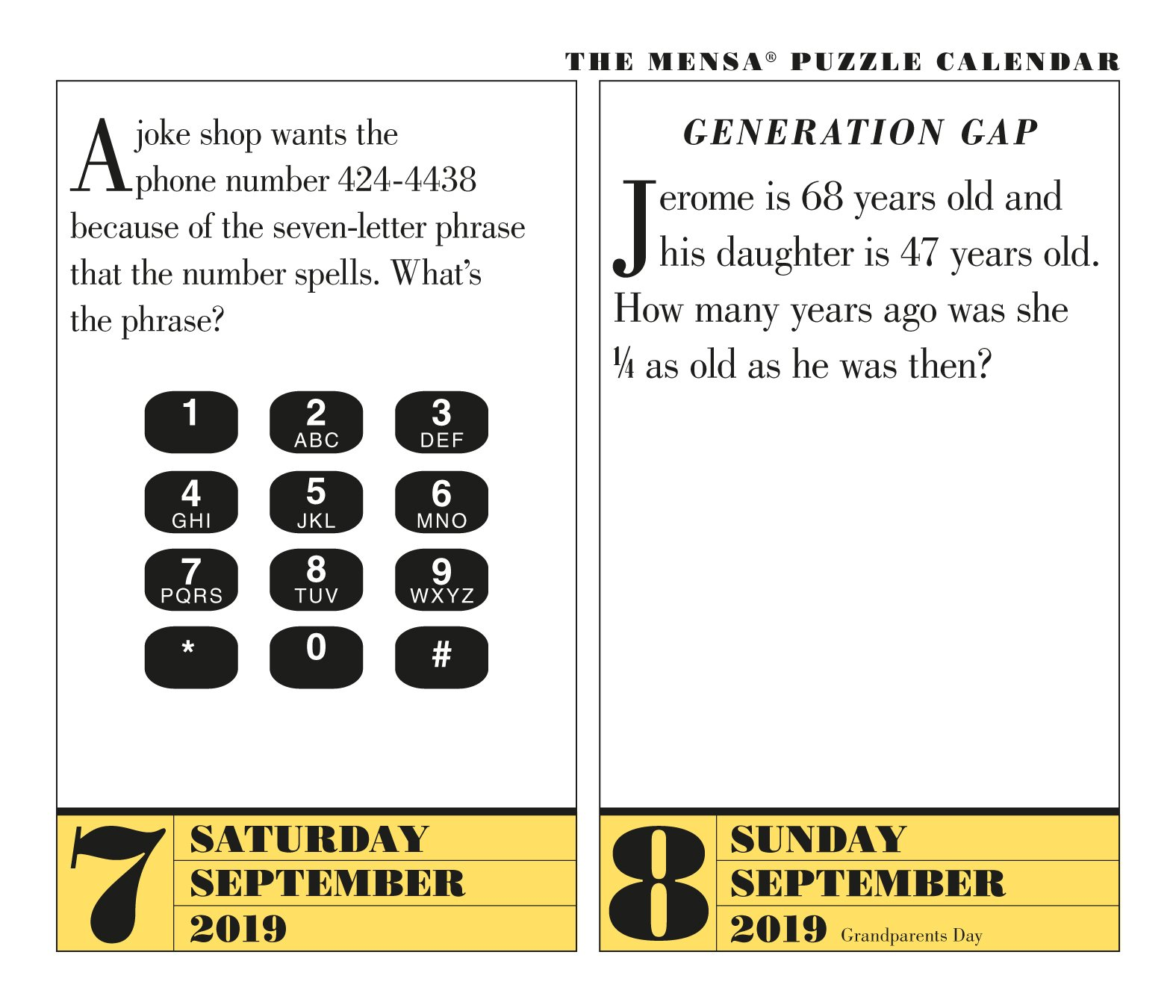 Mensa 365 Brain Puzzlers 2019 Calendar: Amazon co uk: Fraser