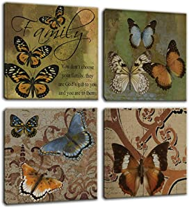 Artsbay 4 Piece Vintage Canvas Wall Art Butterfly Insect Painting Prints Motivational Family Love Quotes Animal Picture Retro Home Bedroom Office Decor Srtetched Ready to Hang