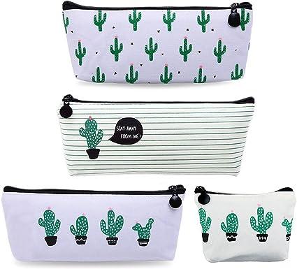 Set de 4 bingolar lápiz funda de lona Estudiante pluma lápiz caso bolsa de cosméticos bolsa de monedero Cactus ablashi - Estuche de lona con un monedero lápiz Pen caso.: Amazon.es: Oficina