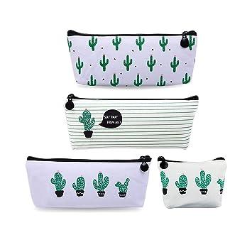 Set de 4 bingolar lápiz funda de lona Estudiante pluma lápiz caso bolsa de cosméticos bolsa de monedero Cactus ablashi - Estuche de lona con un ...