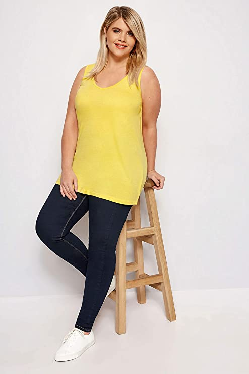 EX YOURS PLUS SIZE BLACK RIBBED COTTON VEST TOP IN SIZES 16-30//32 NEW