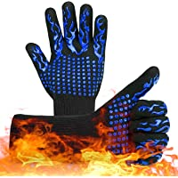 XINGHE BBQ-handschoenen met vingers, Hoog tot 800 ℃, siliconen antislip, ovenhandschoenen, hittebestendig voor koken…