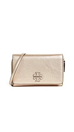 79940ca27 Image Unavailable. Image not available for. Color: Tory Burch McGraw  Pebbled Leather Metallic Wallet Crossbody in Gold