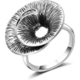 Mytys Fashion Vintage CZ Crystal Cocktail Statement Rings Round Wave Twist Antique Ring for Women Silver/Gold Plated