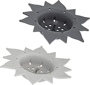 Cook with Color Kitchen Sink Strainer, Silicone, Flexible Sink Strainer, Sink Drain Strainer, Sunflower Shape (2 Pack - Gray & Charcoal)