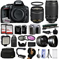 "Nikon D5300 Digital SLR Camera with 18-55mm, 70-300mm Lens, 2x 64GB SD Card, 72"" Monopod, X-GRIP Action Stabilizing Handle, VL-5 LED Video Light, 10pcs Cleaning Kit and Accessory Bundle"