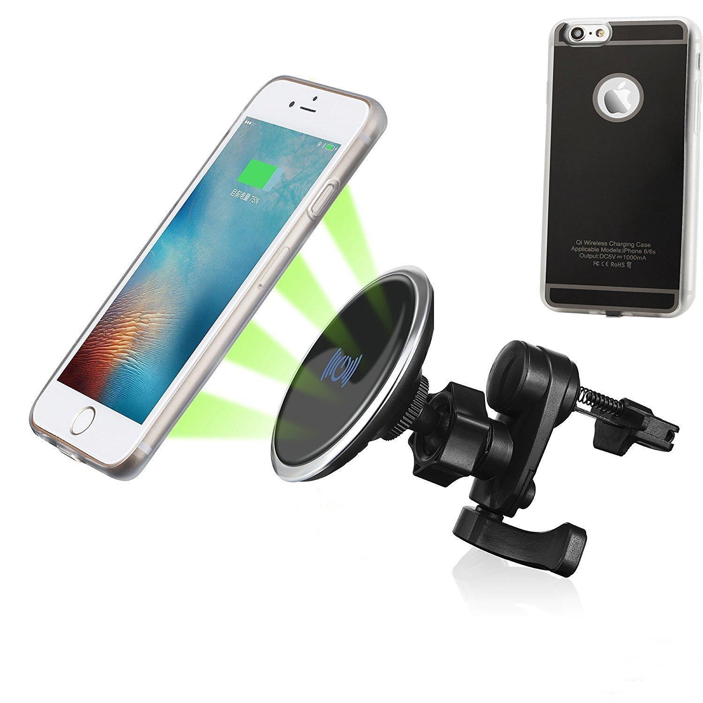 磁気車Qiワイヤレス充電器Air Vent Mount for iPhone 6、iPhone 6s- Including柔軟なQiワイヤレスレシーバーケースとアルミワイヤレス充電パッド JQ-01 B01KLOMYDK ブラック ブラック