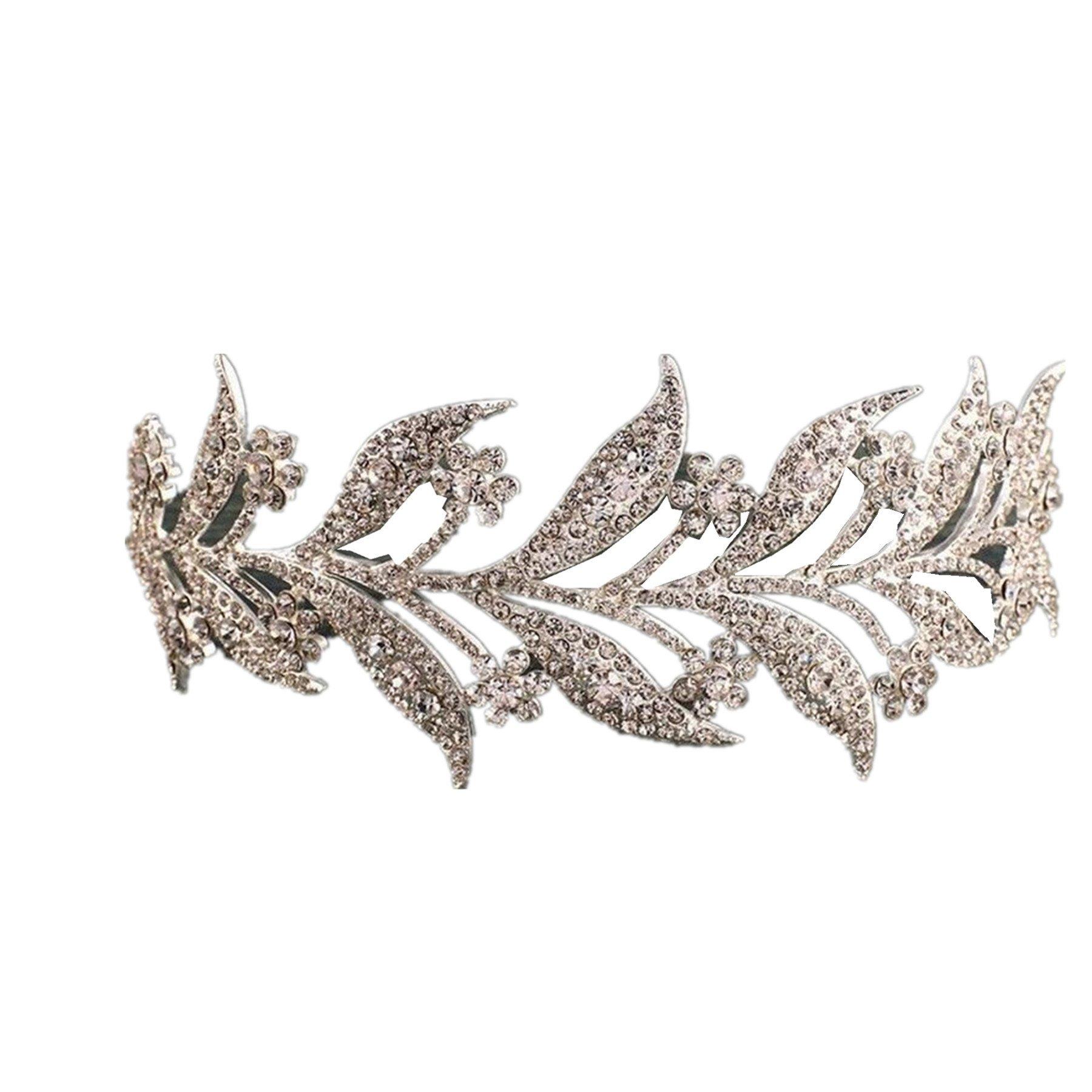 Wiipu Leaves Rhinestone Crystal Wedding Headband Bridal Tiara Crown(N434) (silver-tone)