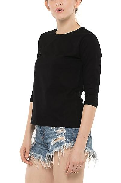 8c5dcd01ce7 Bewakoof Women s Black Plain Round Neck 3 4 Sleeve T-Shirt at Amazon  Women s Clothing store