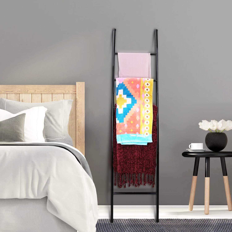 PENGECO Blanket Ladder Towel Shelves Scarves Display Holder- Black Color by PENGECO