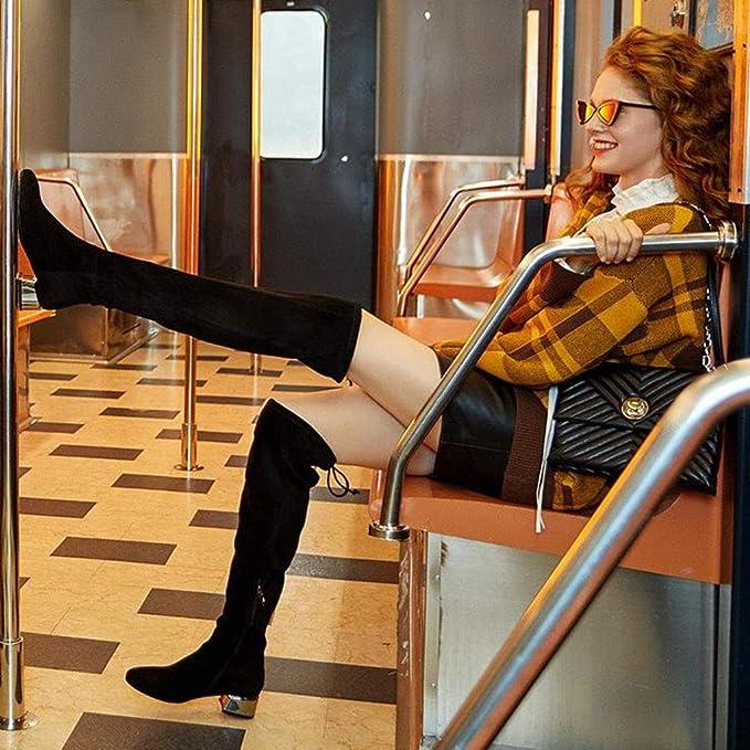 4377f111496d5c Schuh Overknee-Stiefel Freizeitschuhe Square- und Frauenstiefel Fashion- Overknee-Stiefel Street-Casual-Schuhe Stiefeletten